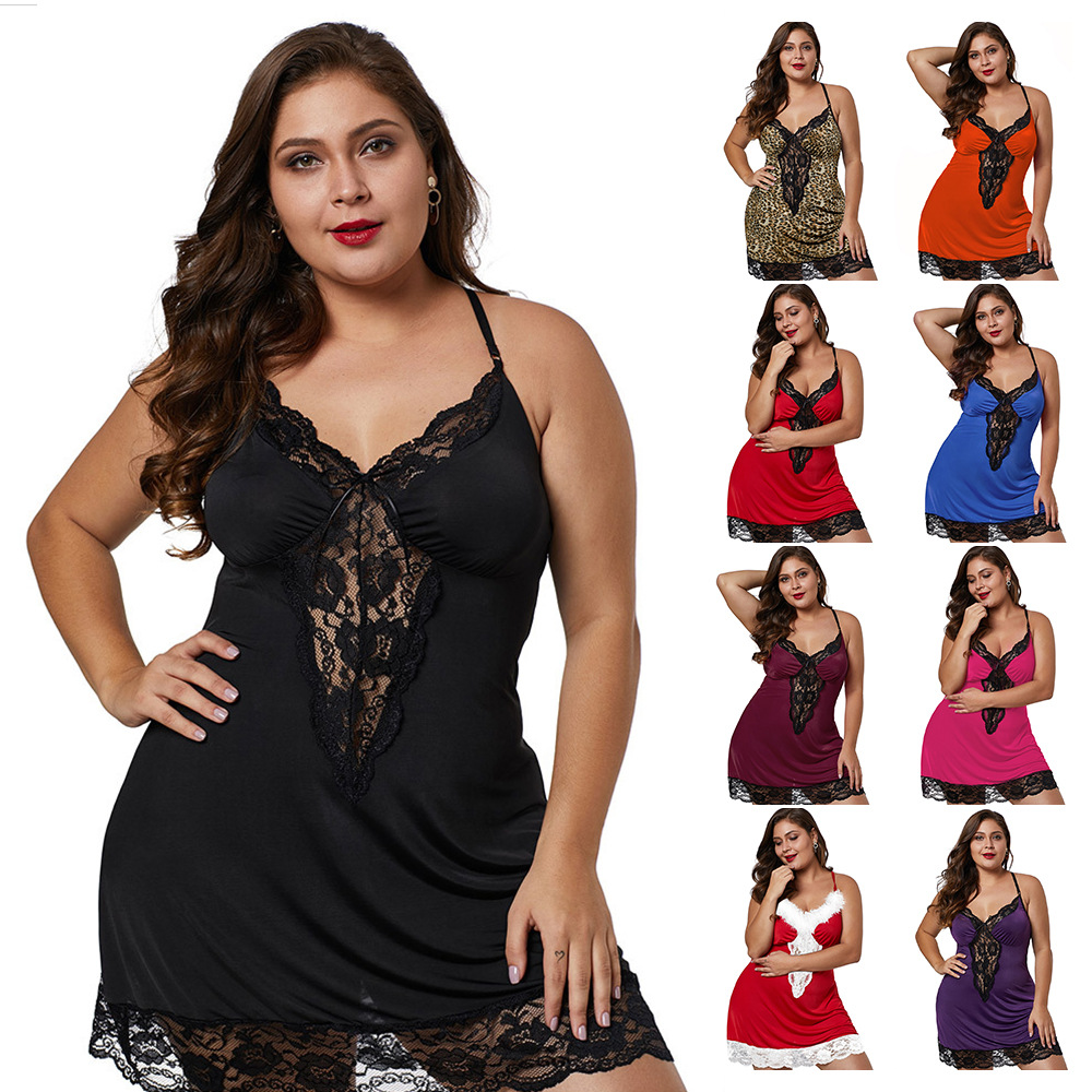 Adult Underwear Large Size Funny Nightdress Female V-Neck Sling Lace Fat Sister Home Clothes
