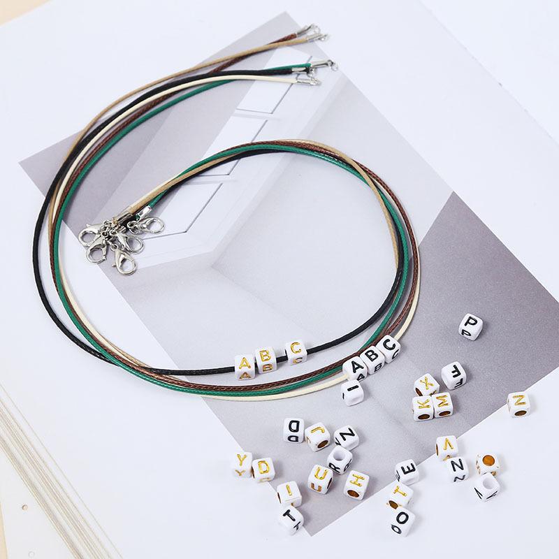 Hot selling fashion beaded 26 letters pendant necklaces set NHLA259464