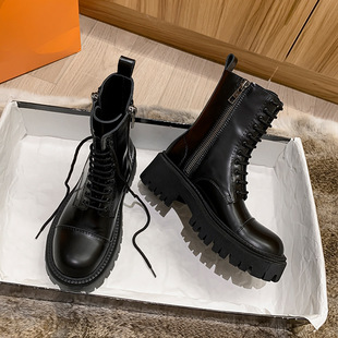 New big head leather Martin boots female British style thick-soled heightened short boots handsome black motorcycle boots ins tide