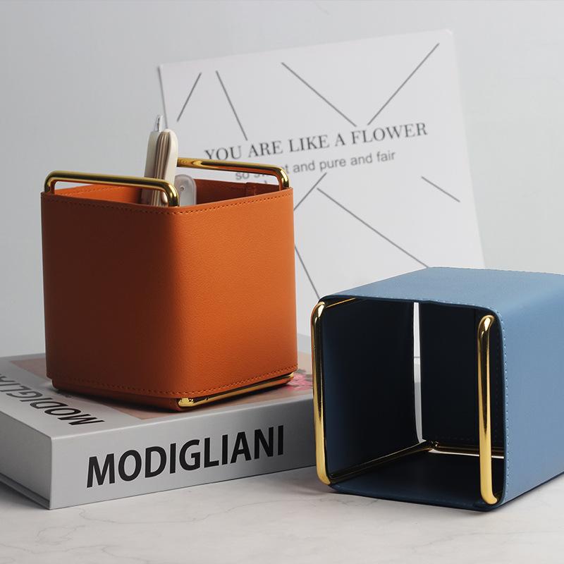 厂家直销 北欧INS创意皮革笔筒电镀铁艺桌面化妆刷客厅遥控收纳盒