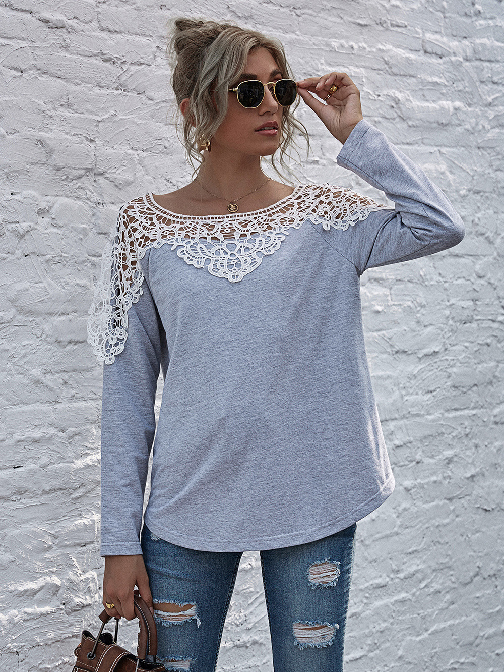 women's hot sale new round neck pullover sweater women autumn and winter long-sleeved shirt wholesale NSDF3931