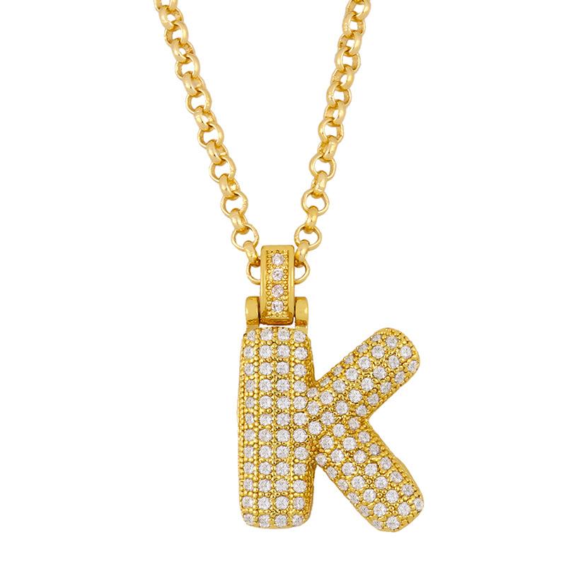 26 English bubble letter pendant choker couple necklace jewelry wholesale nihaojewelry NHAS227739