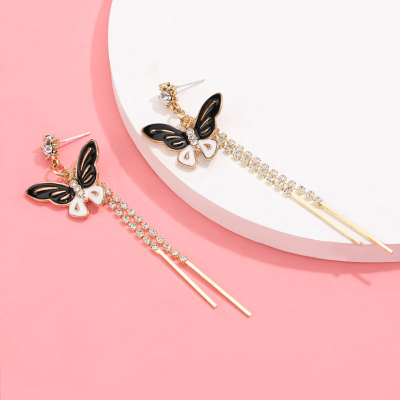 Korean animal earrings  alloy drop oil butterfly long section diamond tassel earrings S925 silver needle earrings tide wholesale nihaojewelry NHJE220039