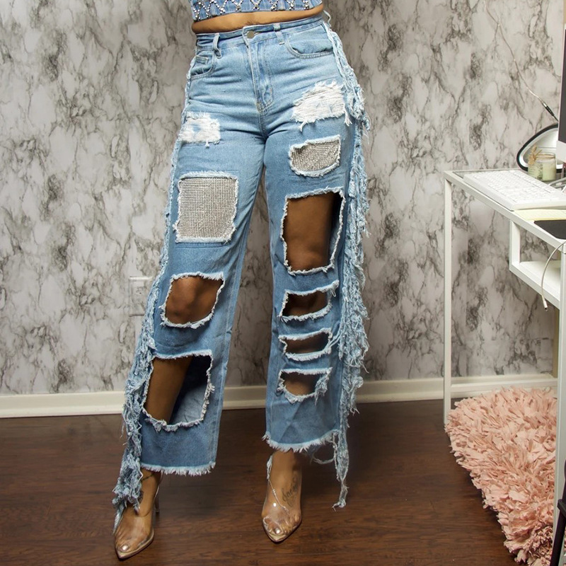 new ripped women s straight-leg pants nihaostyle clothing wholesale NSTH69153