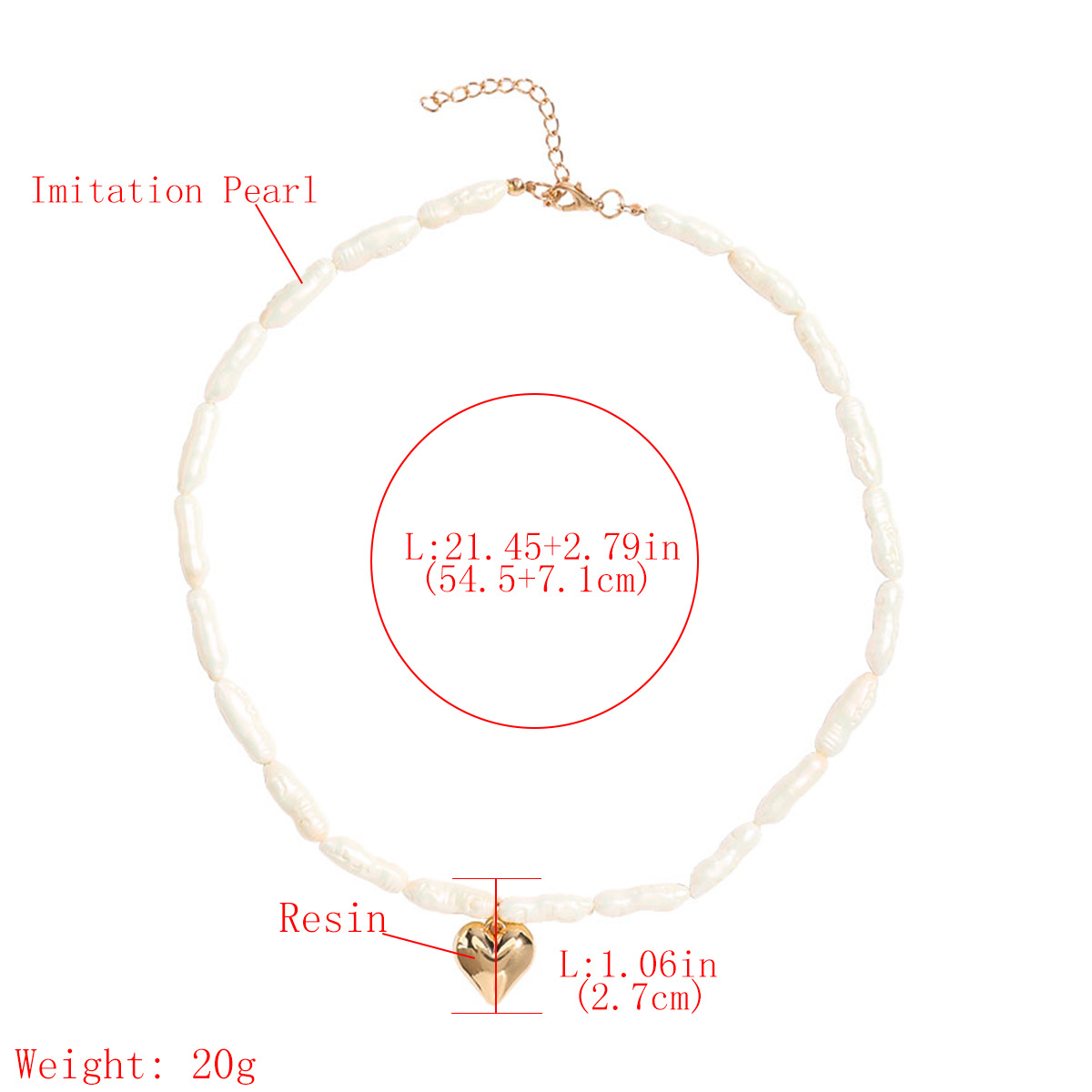 exaggerated fashion personality love heartshaped pendant shaped pearl necklace Baroque style clavicle chain necklace wholesale nihaojewelry NHJE221073
