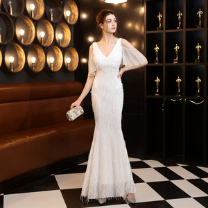 Evening dresses prom dress Robes de soirée evening gowns Polyester thread fringed pearl fish tail banquet car model Party Dress