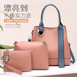Bags 2020 new European and American fashion one-shoulder diagonal women's bag simple large-capacity handbag three-piece mother-in-law bag