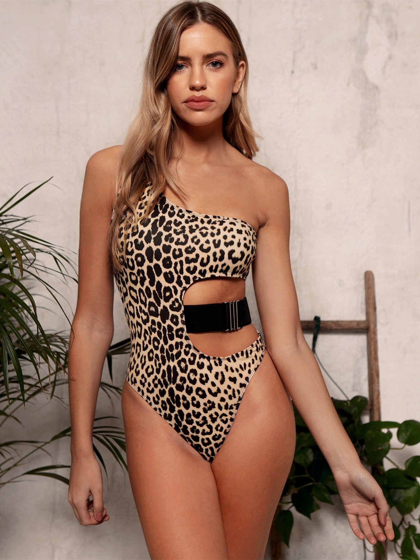 New Fashion Bikini One Shoulder Sexy Leopard One Piece Swimsuit Wholesale NHDA206239