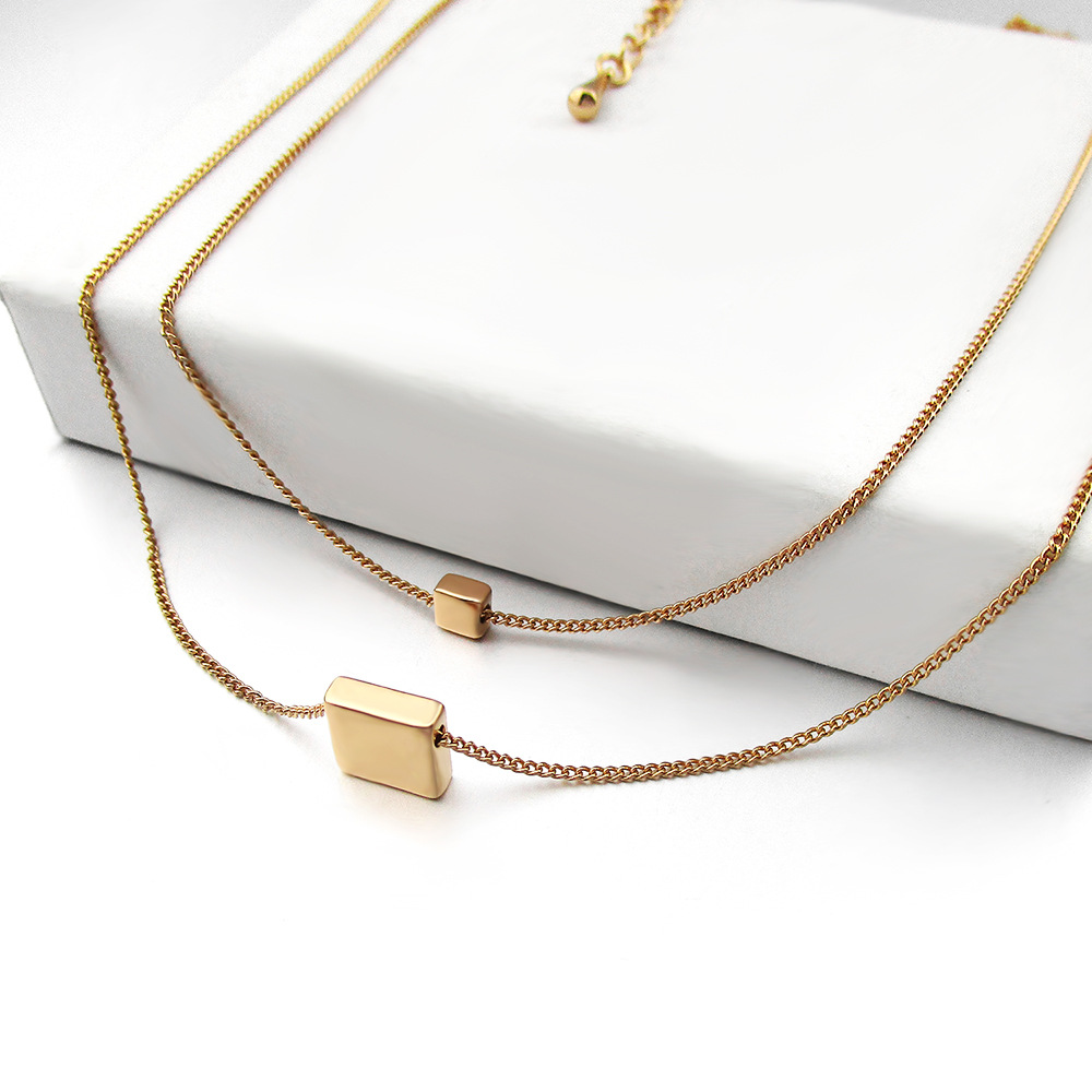 New Fashion Geometric Double Chain Pendant Simple Square Womens Necklace Clavicle Chain Jewelry wholesale nihaojewelry NHLJ228390