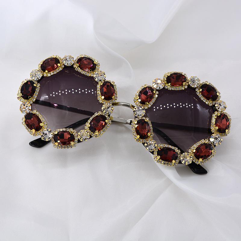 Sunglasses women UV-proof sunglasses Korean diamond color red color crystal sunglasses NHNT203540