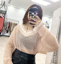 馬海毛純色V領針織套頭衫女春季薄款荷葉邊鏤空罩衫寬松顯瘦毛衣