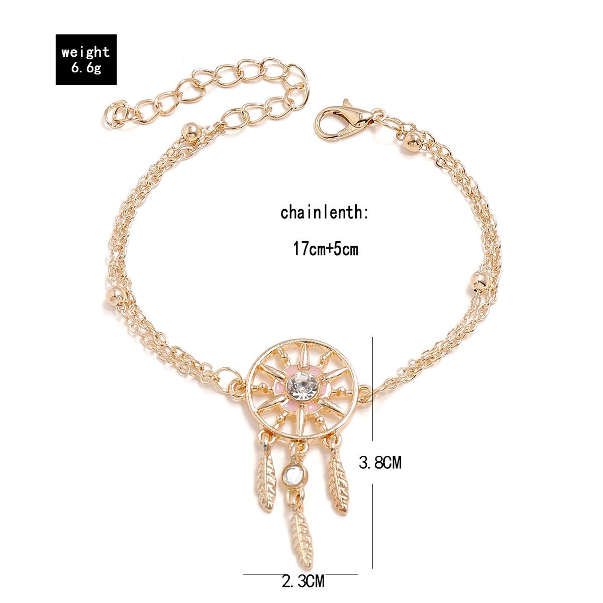 Bohemian oil tassel rhinestone dreamcatcher leaf bracelet for women NHPV205118