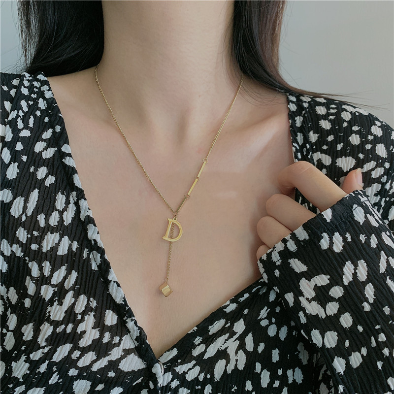 14K gold color no fade simple letter D tassel pendant clavicle chain necklace for women NHYQ242559