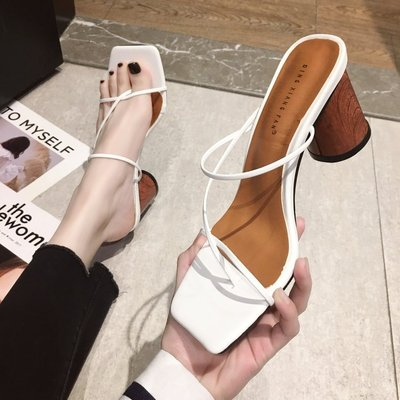 High heeled slippers women shoes clip toe square head heel sexy thin strip sandals