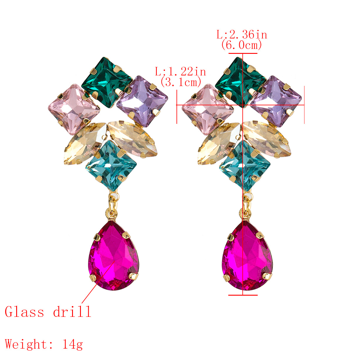 Fashion color series multi-layer alloy diamond drop-shaped glass diamond earrings wholesale nihaojewelry NHJE238128