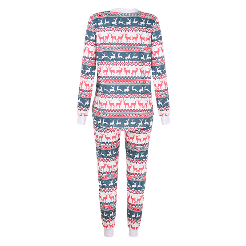 autumn and winter new women's deer print long-sleeved loose casual Christmas suit NSKX5808