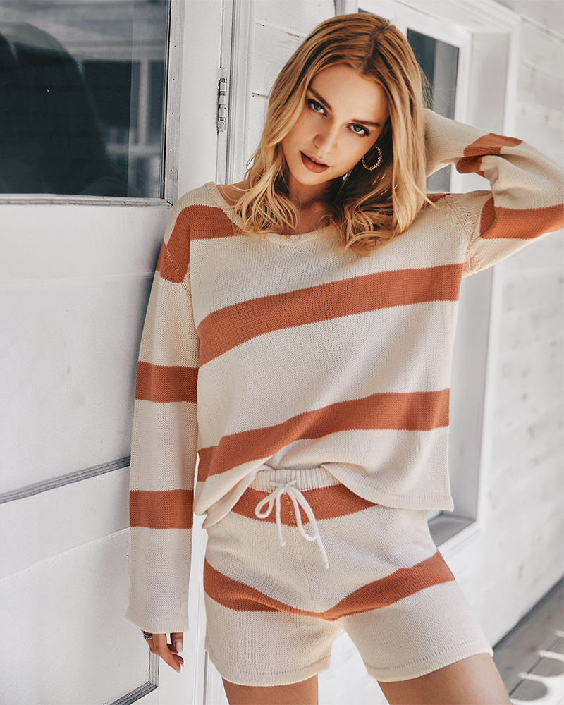 women's autumn and winter fashion knitted striped suit wholesale NSKA218