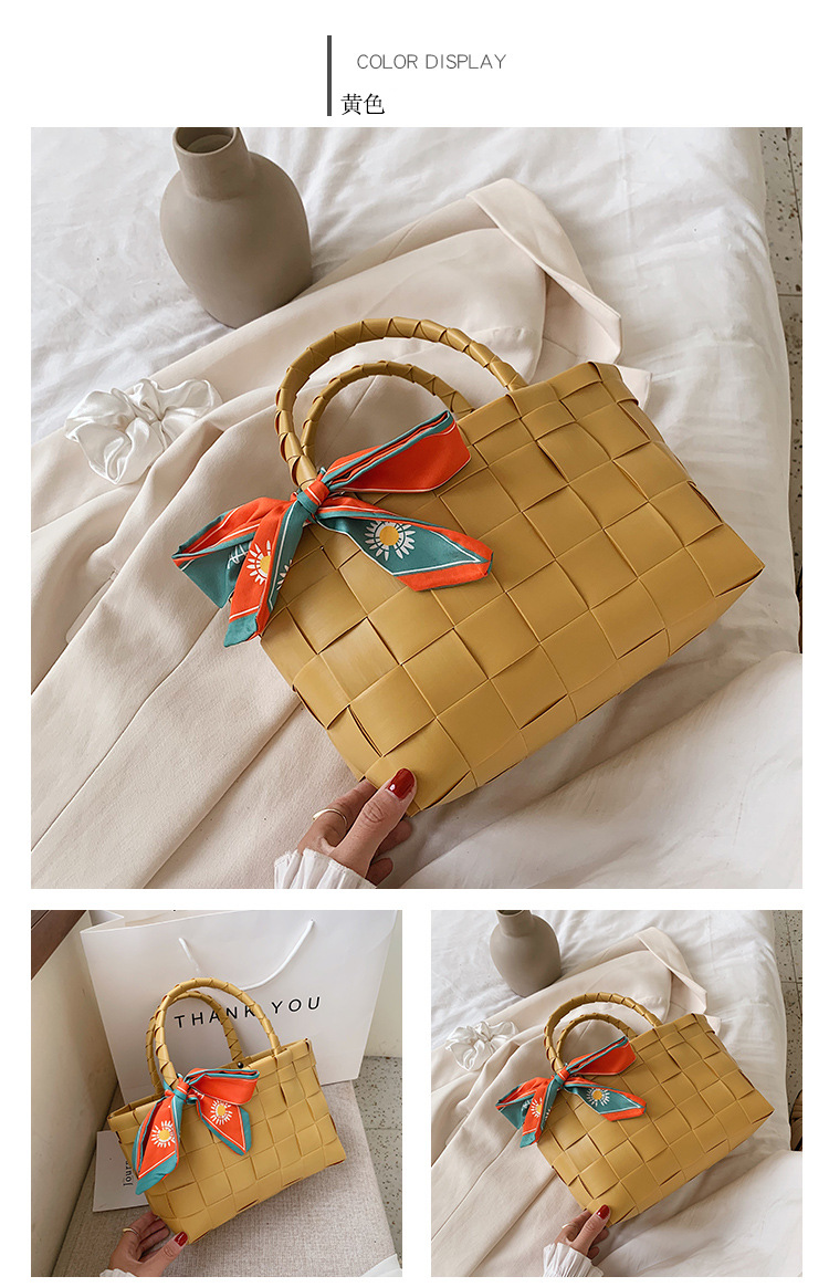 Korean new fashion simple  wild hand-woven portable bucket bow tote bag nihaojewelry wholesale NHPB222973