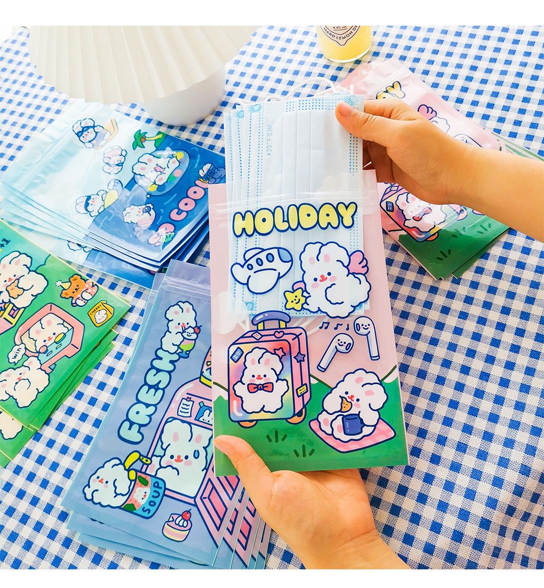 Cute Bunny Packaging Ziplock Bag Snack Sealed Bag Student Mask Shelves Small Pulling Bag Birthday Gift Bag NHZE222727