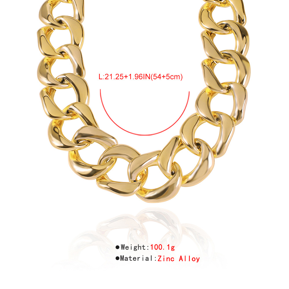 exaggerated fashion alloy thick chain necklace simple punk style hip hop metal texture wholesale nihaojewelry NHMD227742