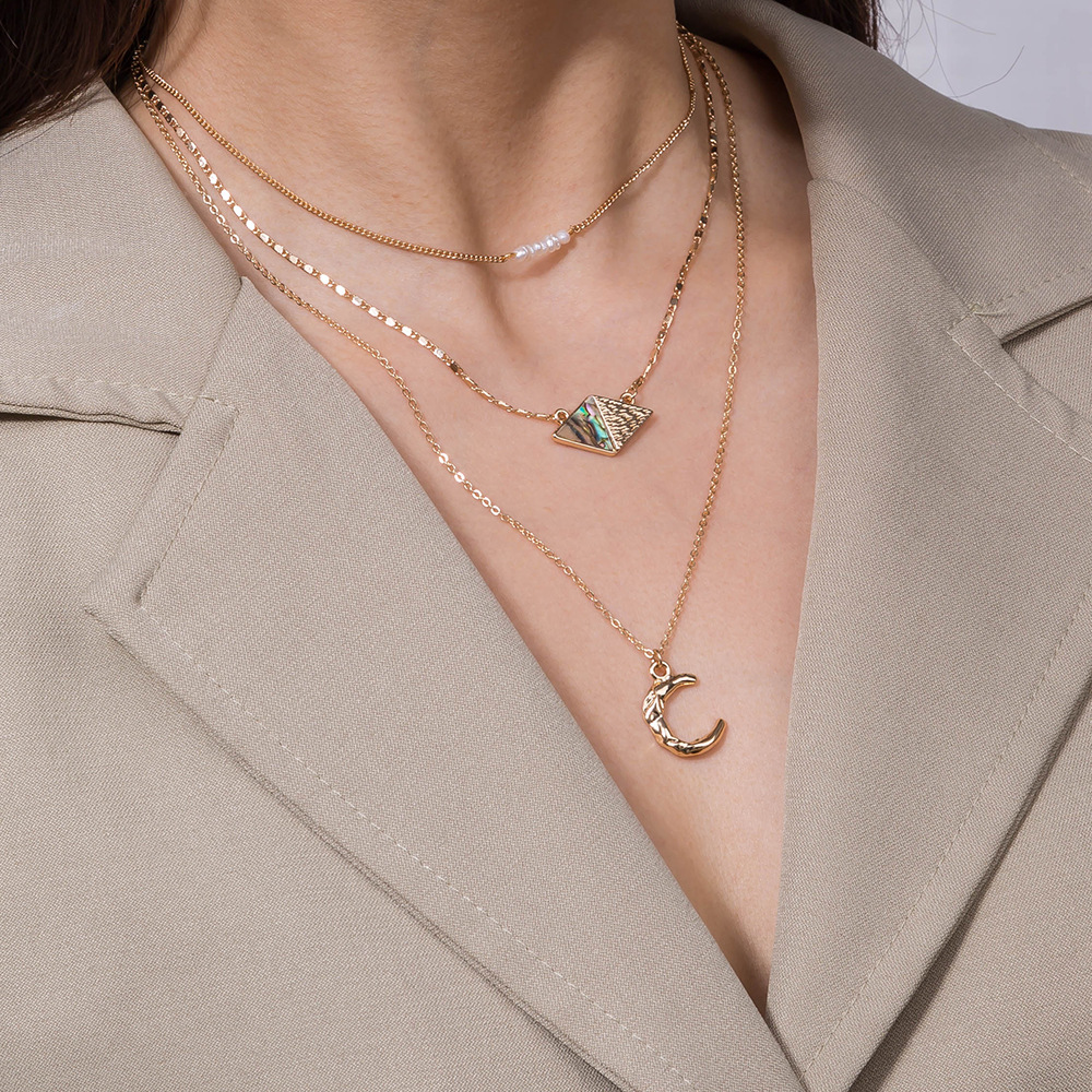 new hotselling multielement natural abalone pearl  combination metal multilayer alloy necklace NHAN243149
