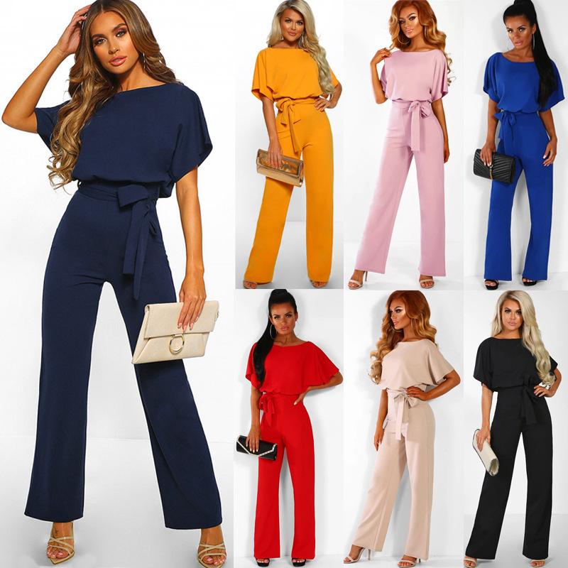 2020欧美爆款女装亚马逊ebay速卖通外贸夏季纽扣系带短袖连体裤