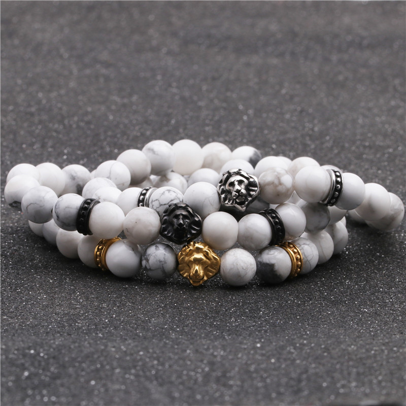 Fashion stainless steel lion head bracelet white turquoise beaded men and women bracelet NHYL198127