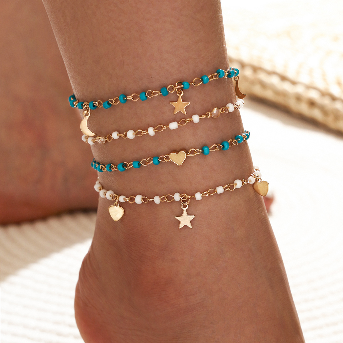 Fashion simple beaded chain fivepointed star moon love pendant tassel anklet 4piece set NHPV257754