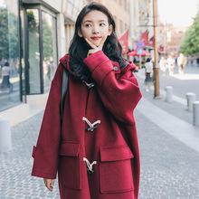 2020秋冬装新款韩版红色牛角扣毛呢外套女中长款连帽学生呢子大衣