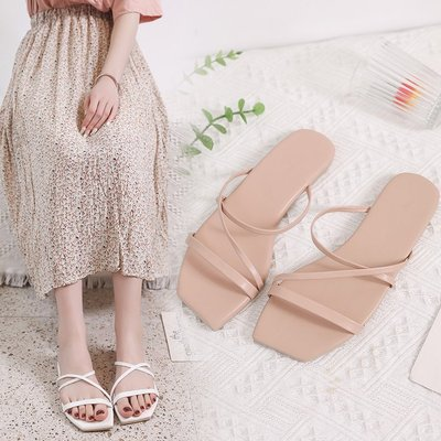 colorful flat slippers women beach shoes crossed with square sandals