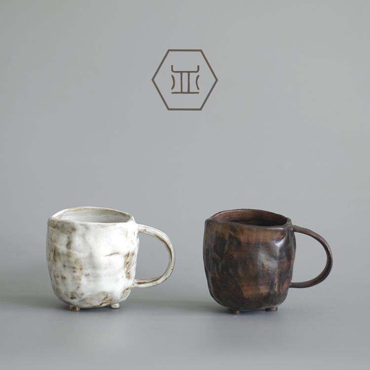 手工粗陶马克杯 日式创意牛奶杯水杯定制 复古陶瓷杯带把咖啡杯