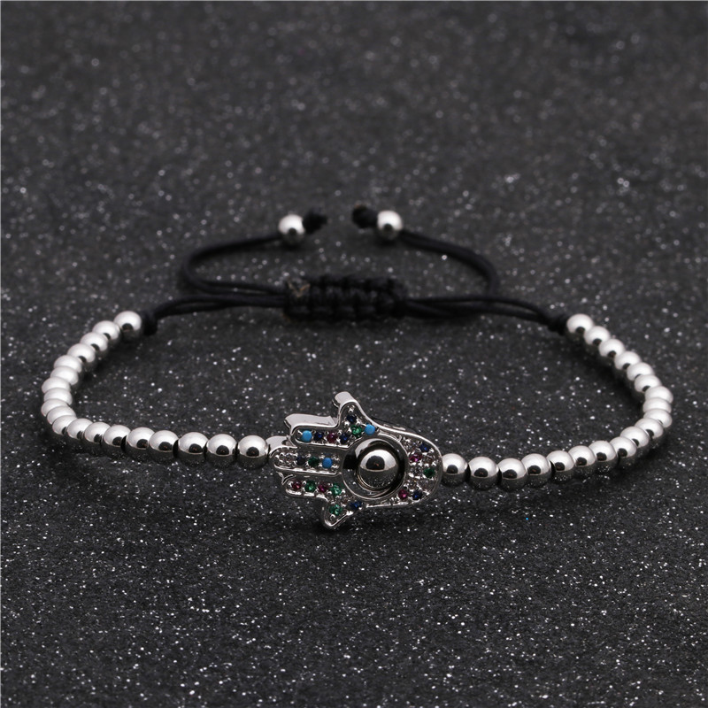 Explosion style copper zircon woven adjustable micro inlaid zirconium palm bracelet for men NHYL199053
