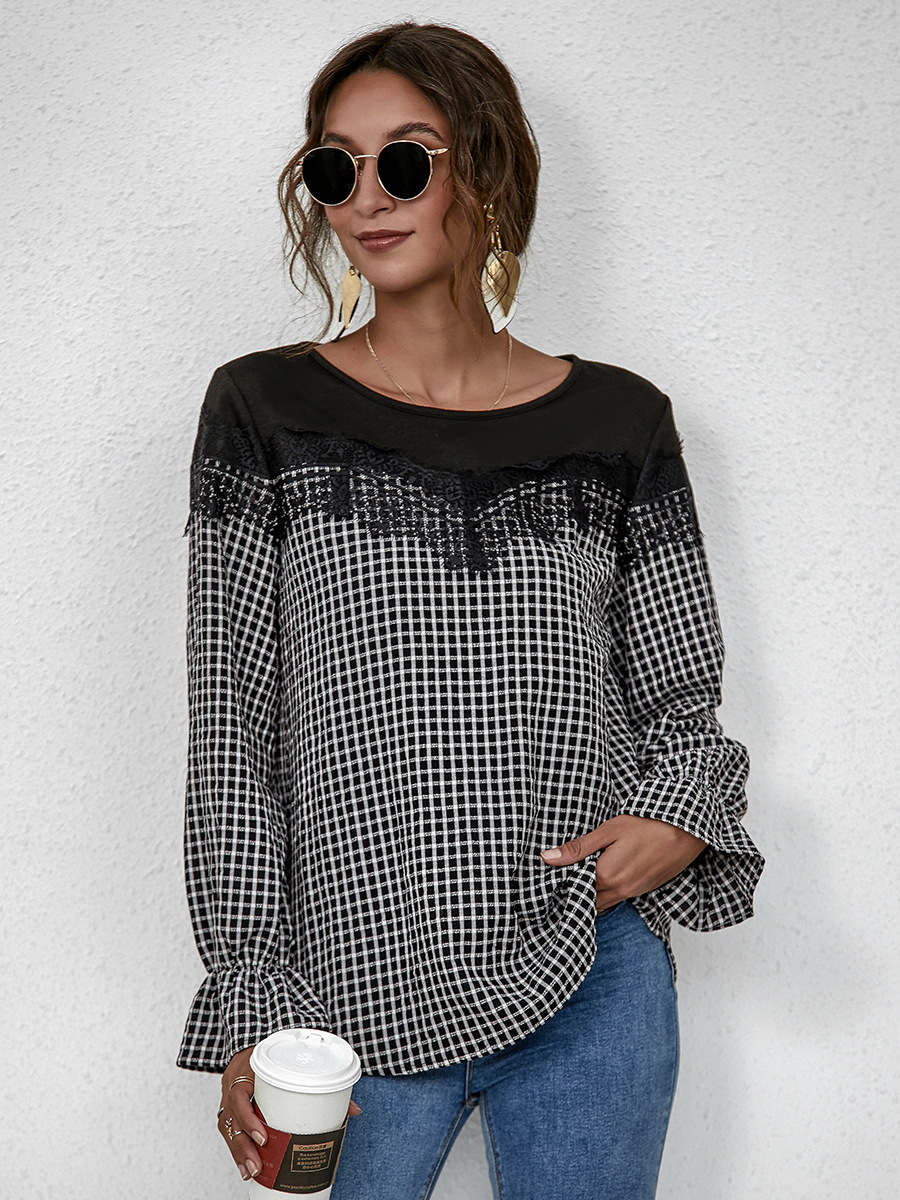 autumn women's hot sale style commuter pullover round neck long sleeve loose top NSAL1899