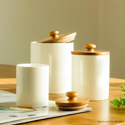 带木盖陶瓷茶叶罐定制小号白瓷迷你密封储存罐收纳小瓷罐储物罐