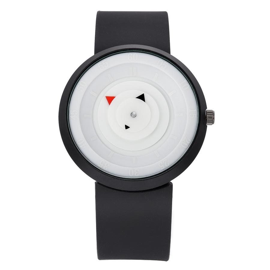 Mens Brand Watches Fashion Rubber Band Unique Quartz Watch