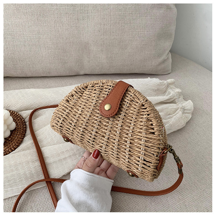 Summer new straw woven small bag messenger bag fashion shoulder woven bag NHJZ227404