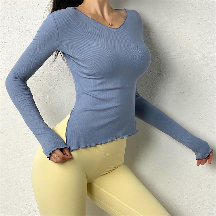 fashion long sleeve frill trim quick-drying sports top NSRMA54204