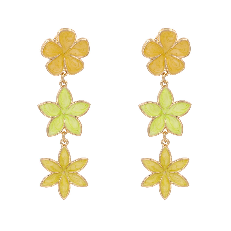 Fashion retro lilac oil drop flower earrings three earrings personalized earrings wholesale nihaojewelry NHJJ220048