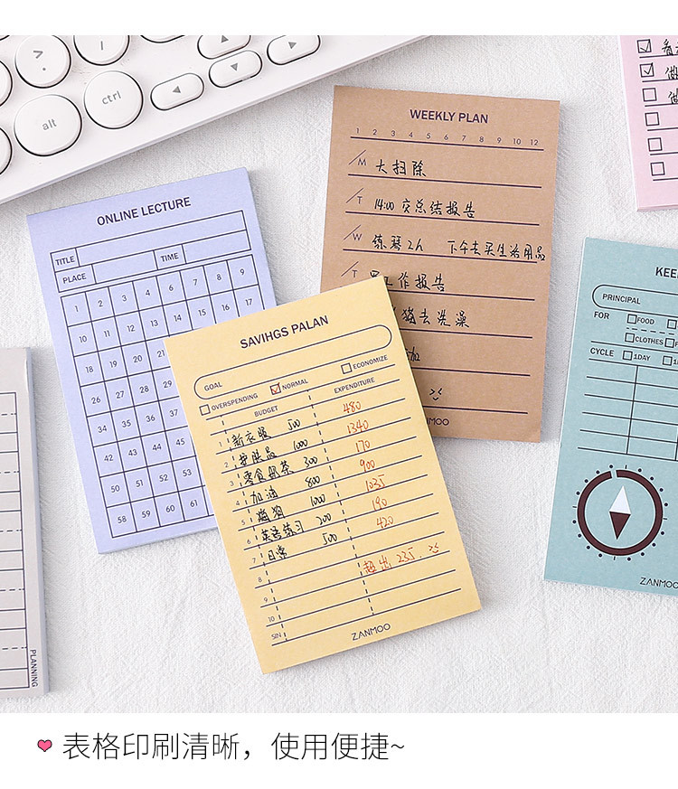 Simple plan note pad student daily notebook time management schedule book weekly plan book wholesale nihaojewelry NHZE231339