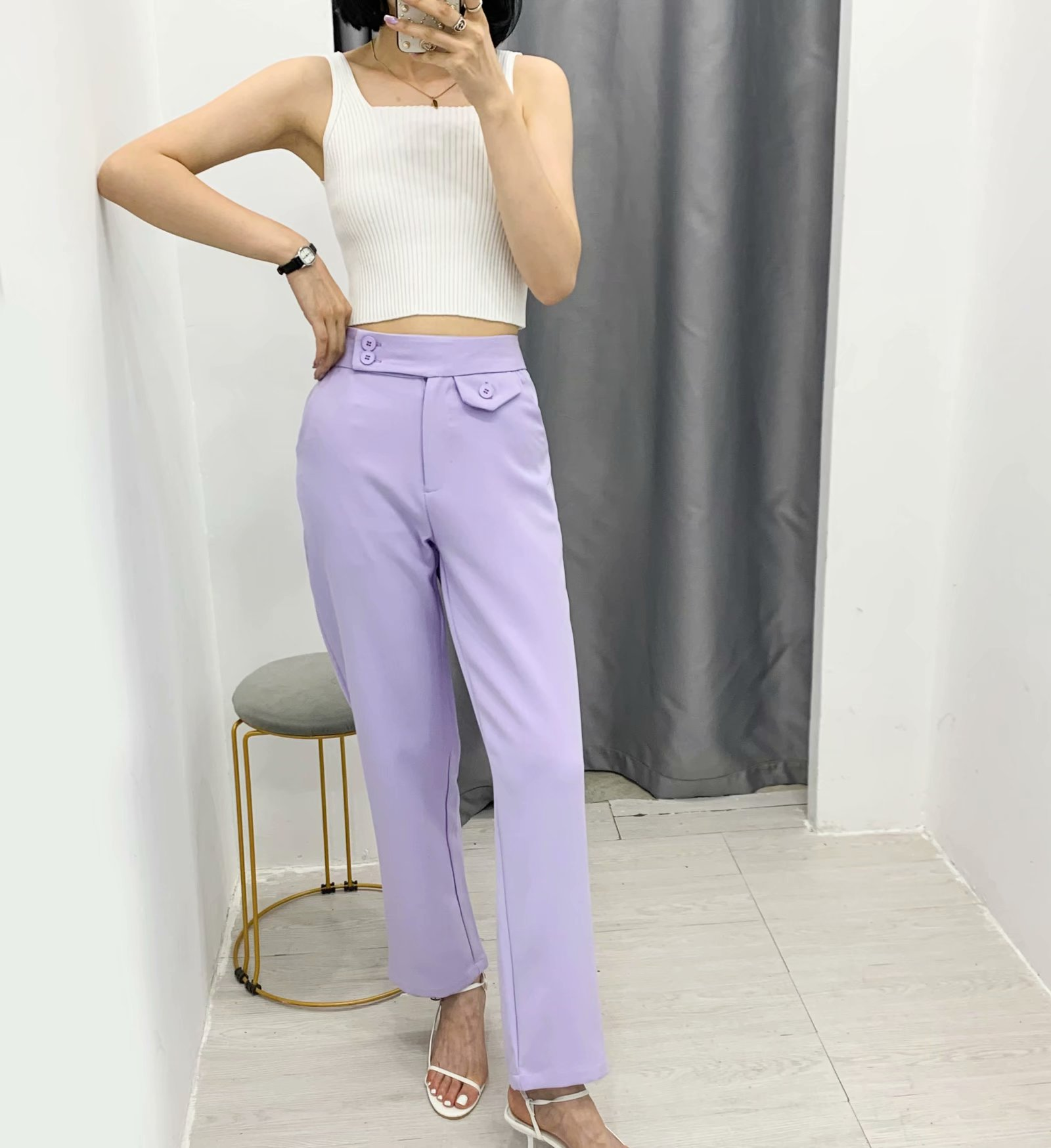 straight drape high waist slimming suit material wideleg pants casual trousers wholesale nihaojewelry NHAM236727