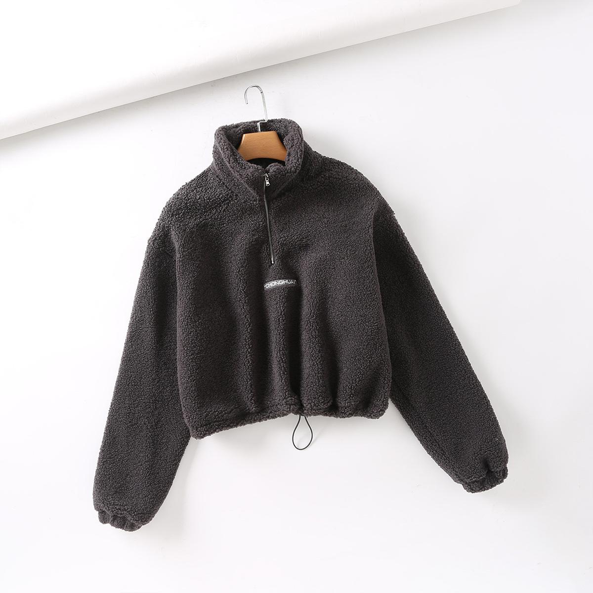 thick grain cashmere letter embroidery half high neck zipper drawstring plush sweater  NSAM3854