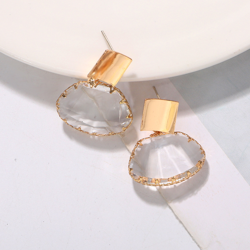 New temperament fine silver pin earrings fashion wild oval transparent earrings NHJQ199008