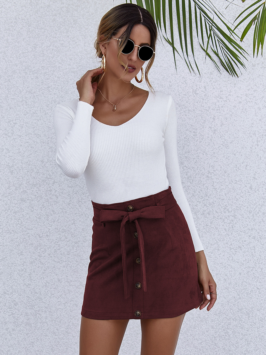 autumn and winter women's hot sale solid color high waist lace-up A-line skirt NSAL1947