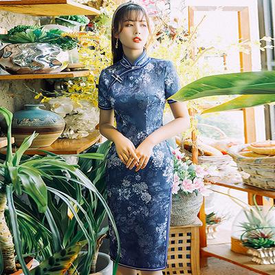 Cheongsam long double cheongsam dress of the Republic of China