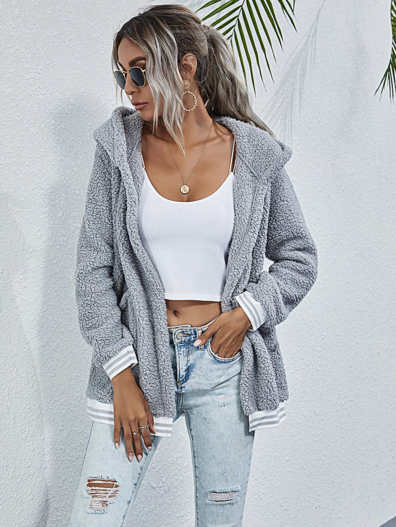 hot sale autumn and winter new style striped stitching long-sleeved hooded pocket plush jacket  NSYD3745