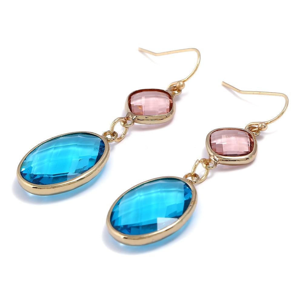 Fashion earrings simple long earrings crystal earrings colored water drop crystal earrings NHJJ199351