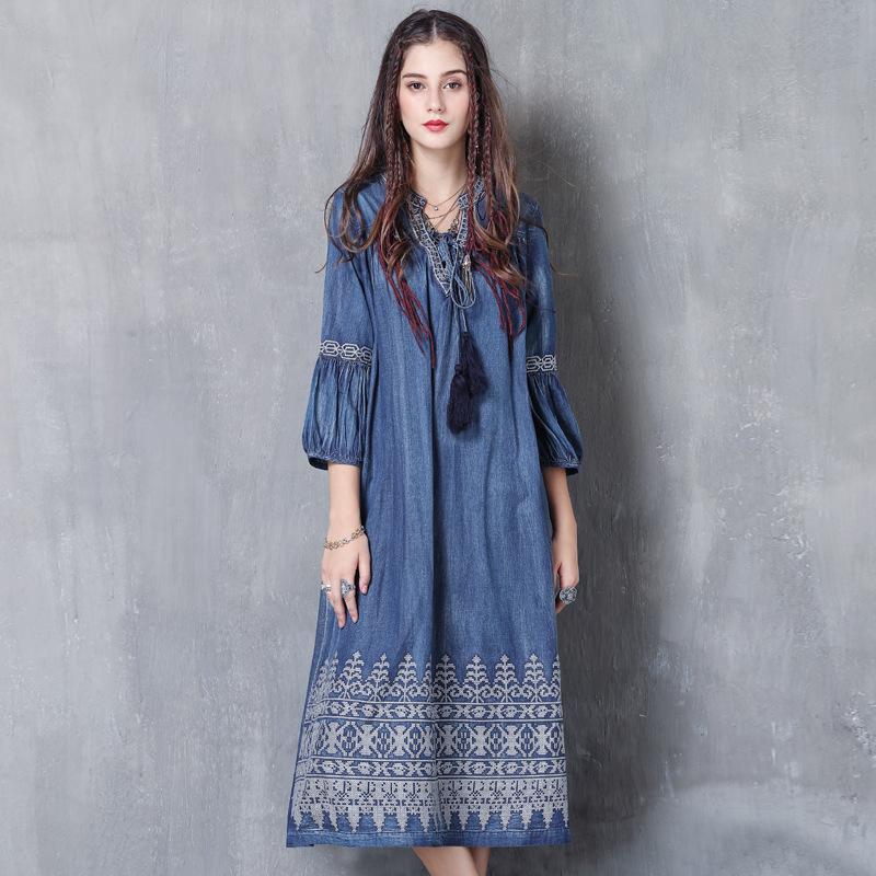 原创女装2020秋装新款大码牛仔长裙 复古刺绣灯笼袖连衣裙A82053