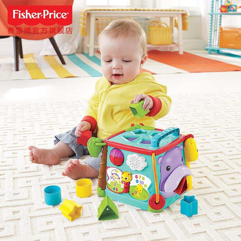 费雪探索学习六面盒CMY28 音乐形状配对儿童双语早教婴儿玩具