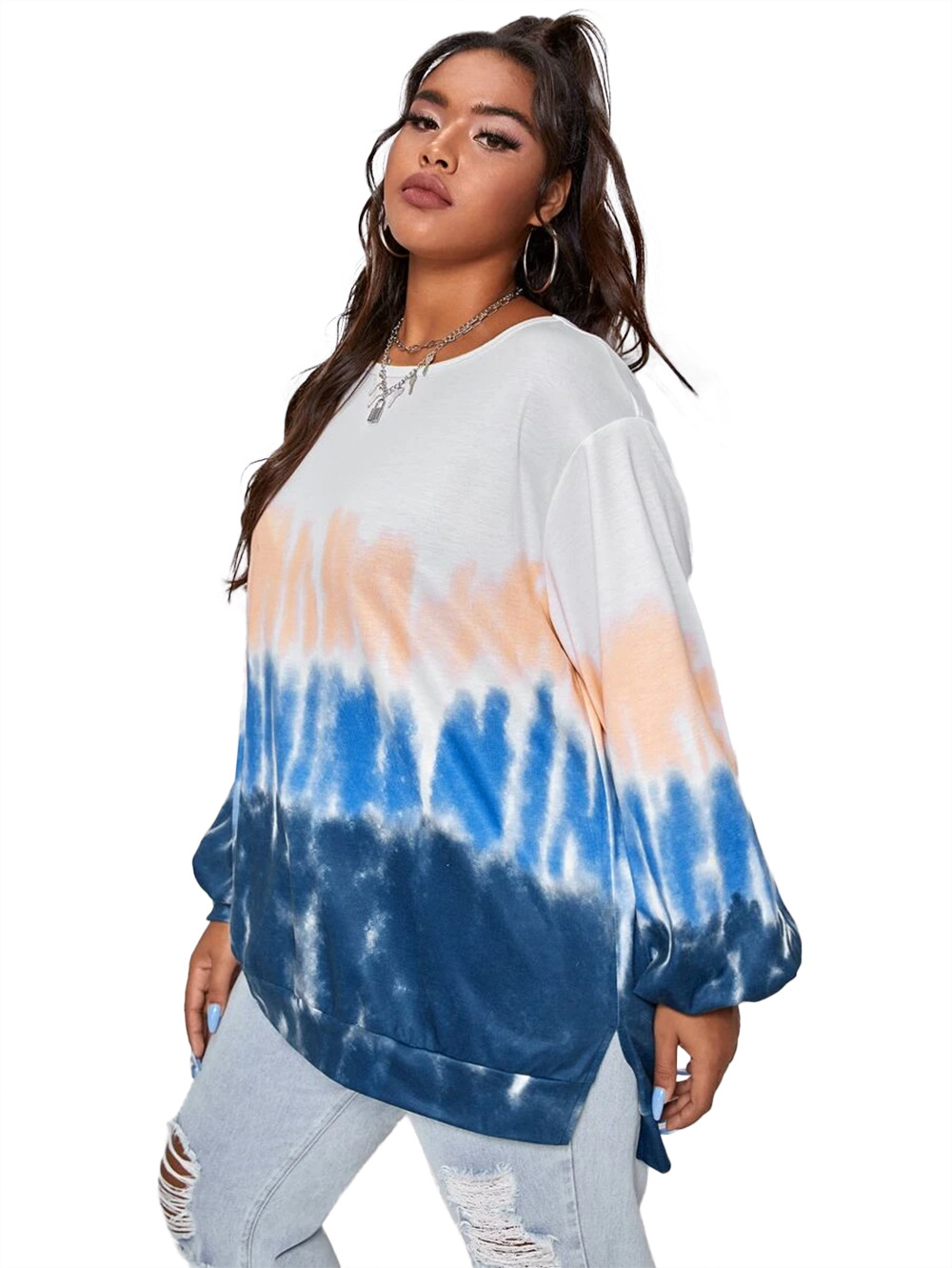 autumn and winter women's new style stitching casual round neck loose gradient tie-dye long-sleeved sweater  NSDF3274