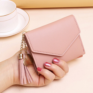 Factory wholesale new wallet ladies multi-card small wallet tassel tri-fold wallet card bag coin purse wallet